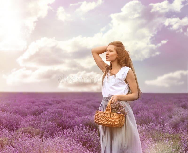 Mooie jonge vrouw met rieten mand op lavendelgebied op de zomerdag royalty-vrije stock foto