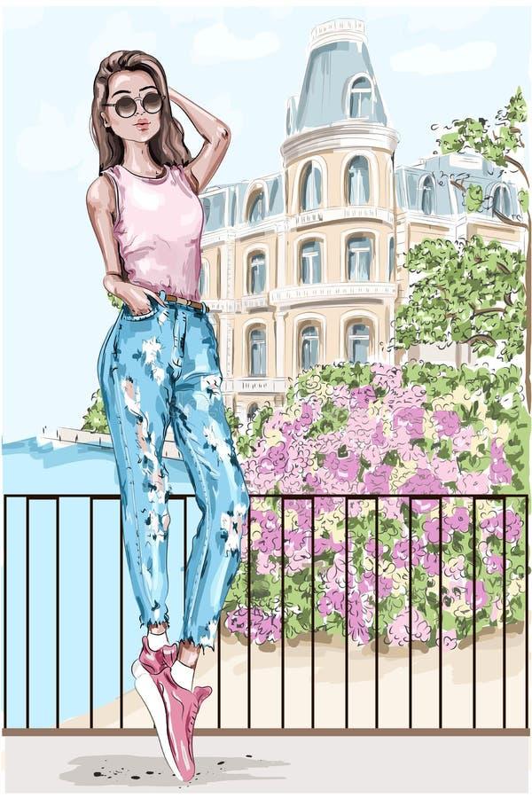 Mooie jonge vrouw met schilderachtige landschapsachtergrond Hand getrokken maniervrouw met kasteel en bloemen op achtergrond vector illustratie
