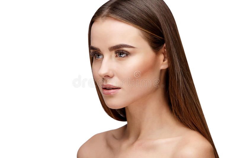 Mooie jonge vrouw met schone verse huid royalty-vrije stock foto's