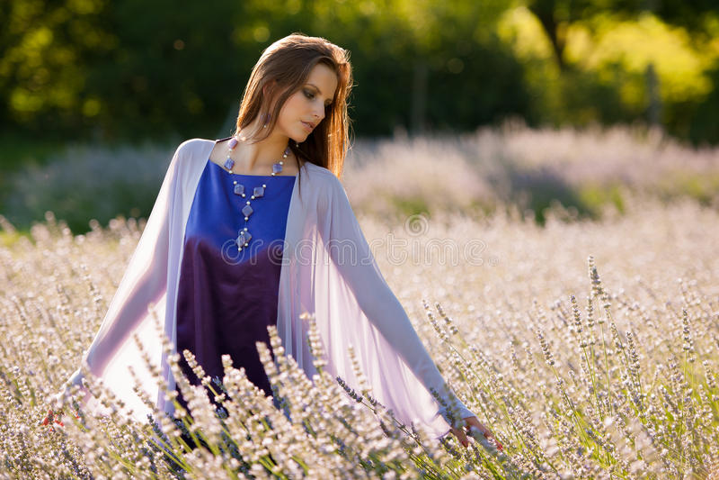 Mooie jonge vrouw op lavandergebied - lavandameisje royalty-vrije stock foto's