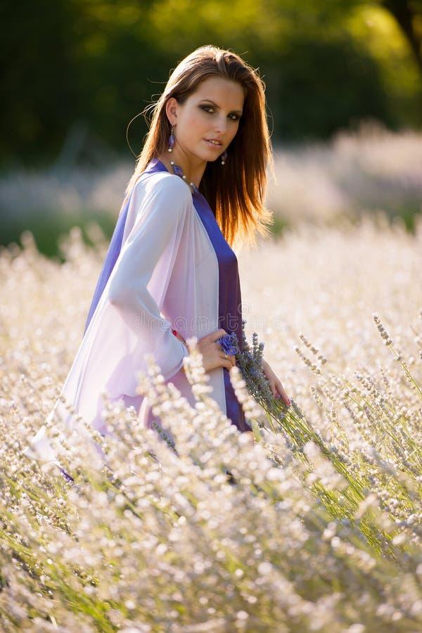 Mooie jonge vrouw op lavandergebied - lavandameisje stock afbeelding