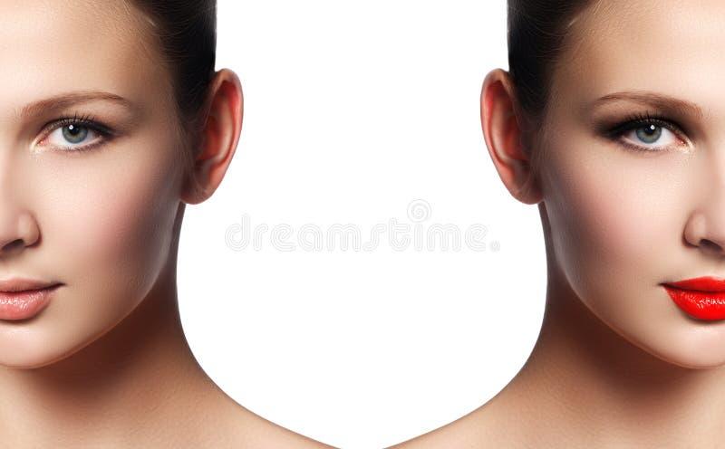 Mooie jonge vrouw before and after samenstelling het van toepassing zijn Compari stock afbeeldingen