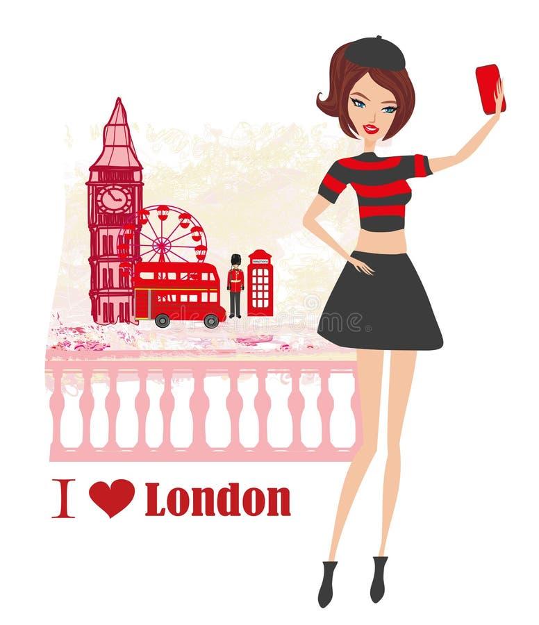 Mooie jonge vrouw selfie in Londen stock illustratie