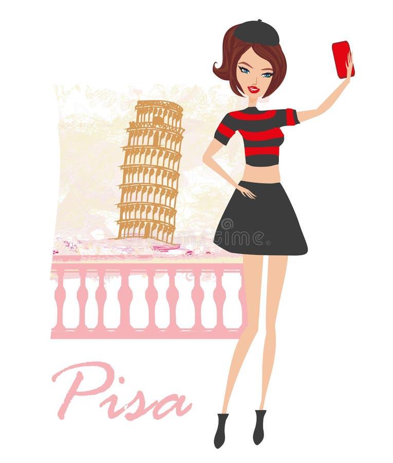 Mooie jonge vrouw selfie in Pisa stock illustratie