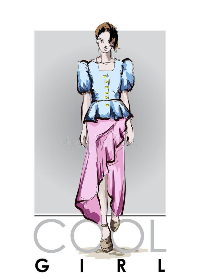 Mooie jonge vrouwen in blauwe blouse en roze rok Hand getrokken maniermeisje Het stellen van de mannequin schets vector illustratie