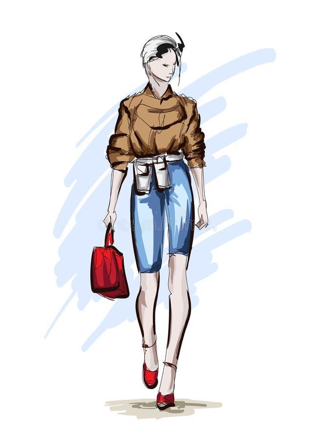 Mooie jonge vrouwen in een beige blouse en blauwe kulassen met een rode handtas Hand getrokken maniermeisje Het stellen van de ma stock illustratie