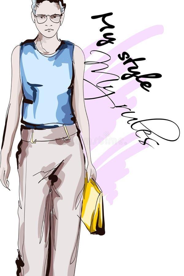 Mooie jonge vrouwen in een blauwe blouse en bruine broeken Hand getrokken maniermeisje Het stellen van de mannequin schets stock illustratie