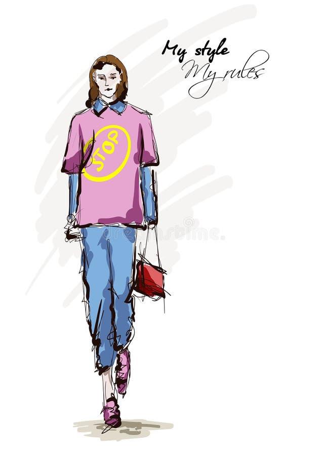 Mooie jonge vrouwen in een roze blouse en blauwe broeken Hand getrokken maniermeisje Het stellen van de mannequin schets vector illustratie