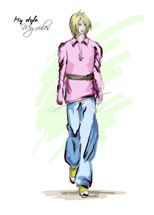 Mooie jonge vrouwen in een roze blouse en blauwe broeken Hand getrokken maniermeisje Het stellen van de mannequin royalty-vrije illustratie