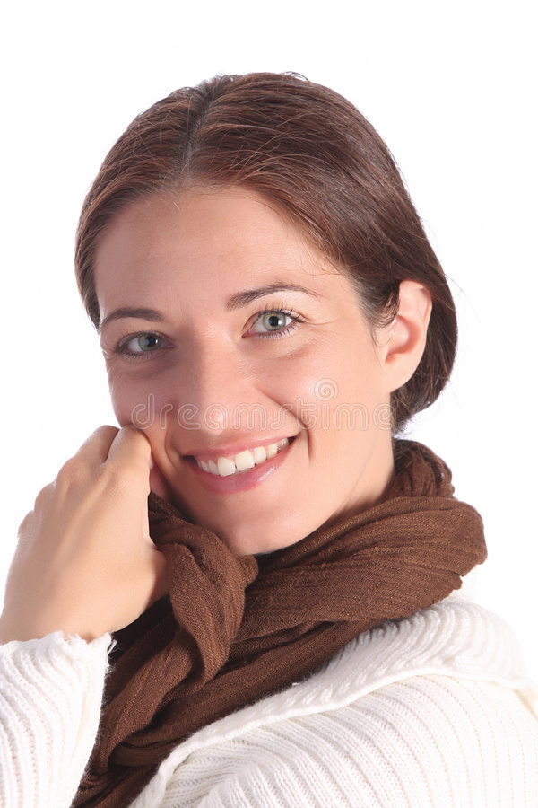 Mooie jongelui een vrouw met bruine sjaal stock foto