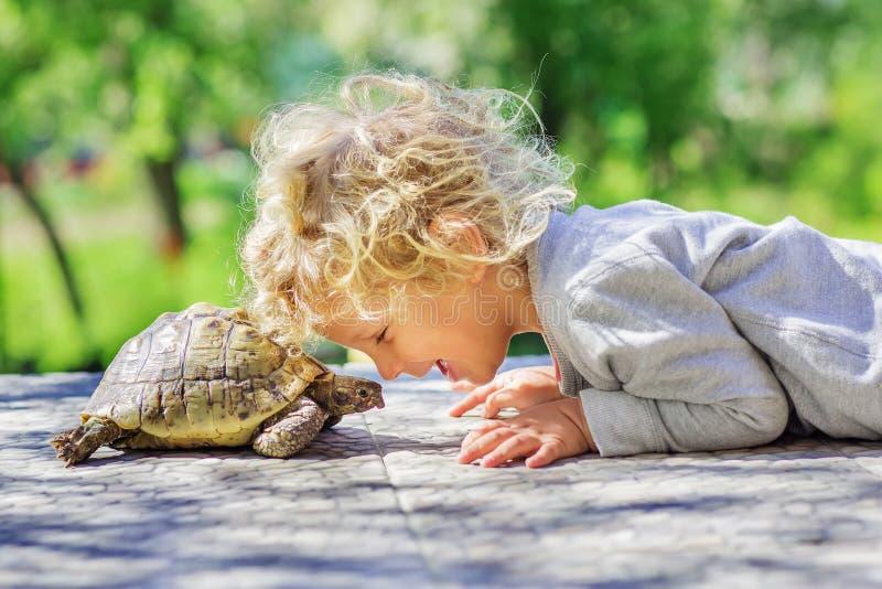 Mooie jongen met schildpad royalty-vrije stock afbeeldingen