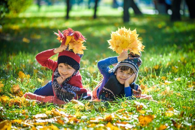 Mooie jongen, weinig kind die met heel wat gele de herfstbladeren leggen in park Jong geitjejongen die pret op zonnige warme okto stock afbeelding