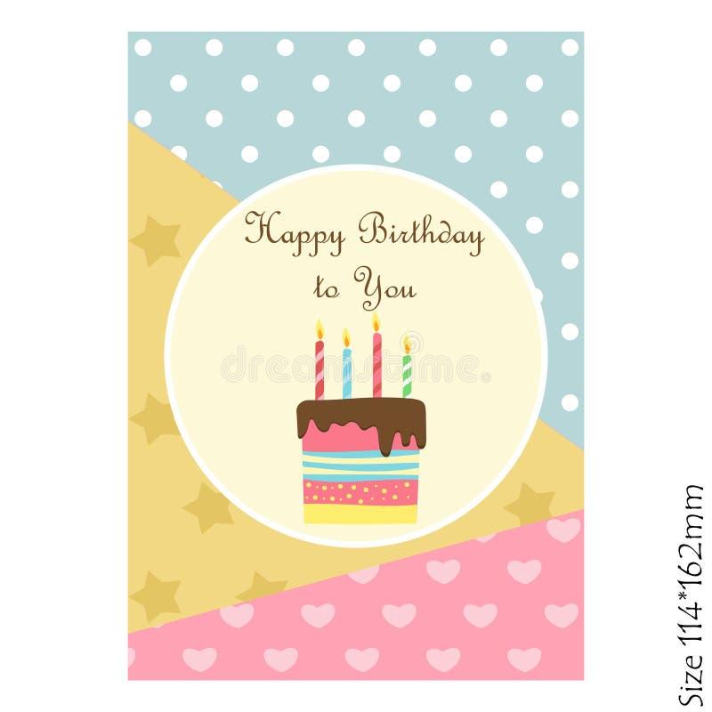 Mooie kaart gelukkige Verjaardag Vectoruitnodiging met cake en een mooie pastelkleurachtergrond stock illustratie