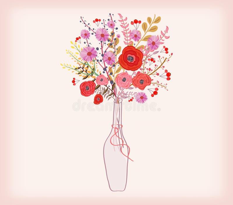 Mooie kaart met waterverfbloemen fles met liefde stock illustratie