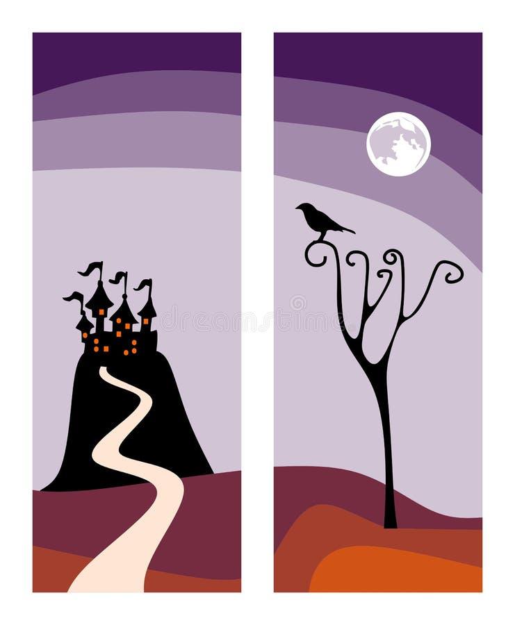 Mooie kaarten voor Halloween-vakantie Kasteel op de heuvel en raaf op de boom vector illustratie