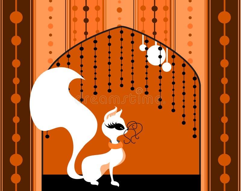 Mooie kat bij het venster vector illustratie