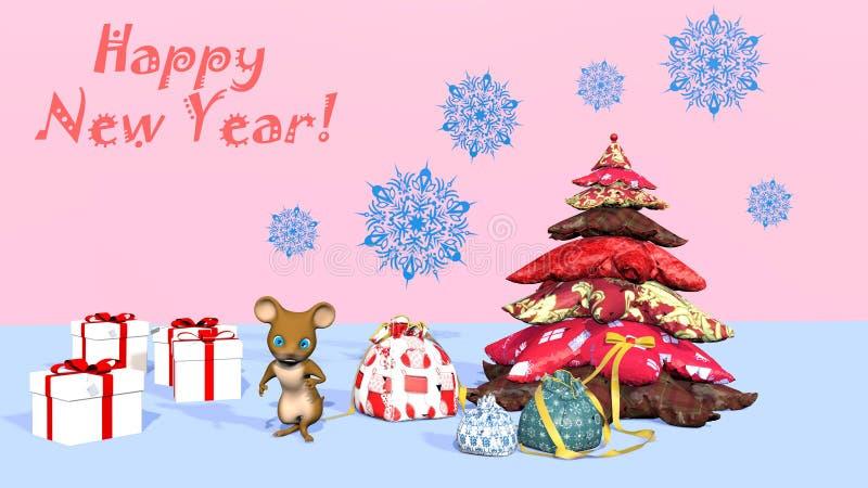 Mooie kerstboom en een schattige muis 3D-rendering stock illustratie