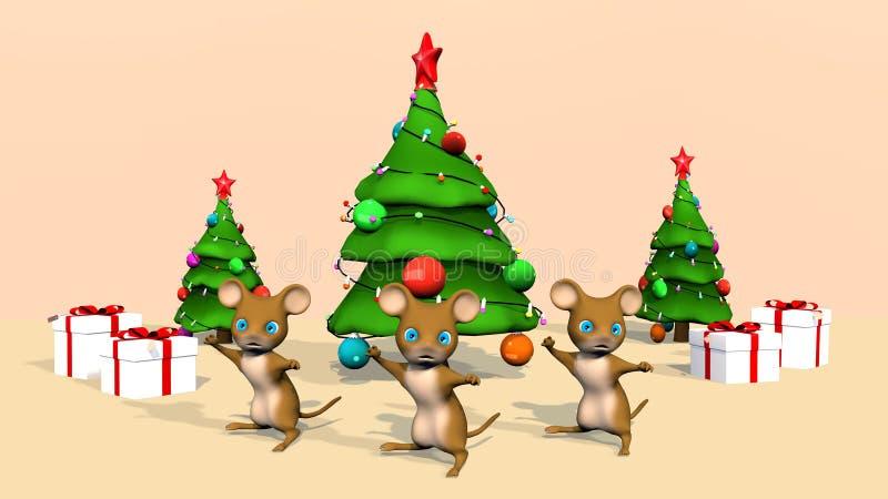 Mooie kerstboom en een schattige muis 3D-rendering vector illustratie