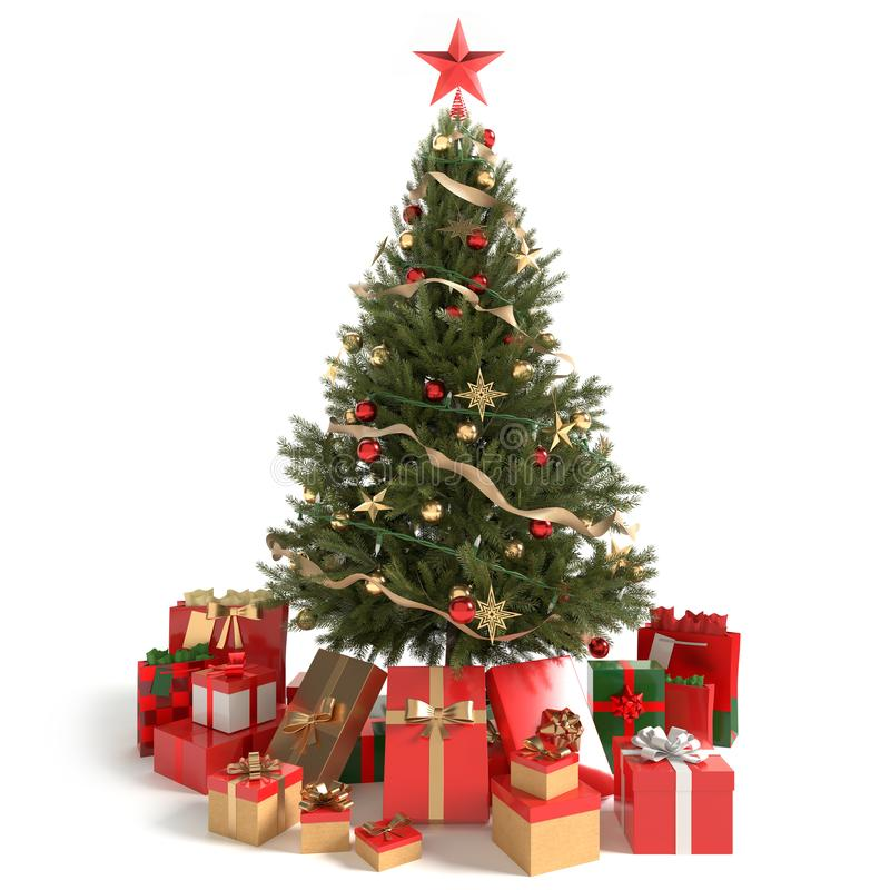 Mooie Kerstboom en giften royalty-vrije stock afbeeldingen