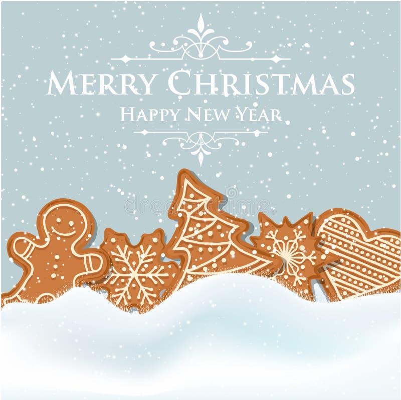 Mooie Kerstkaart met peperkoek royalty-vrije illustratie