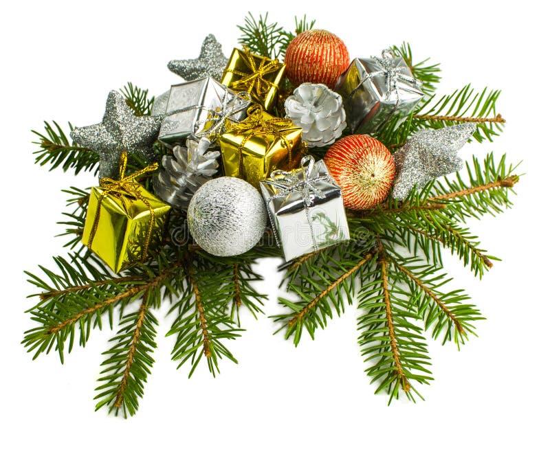 Mooie Kerstmis stelt geïsoleerd op witte achtergrond voor stock afbeeldingen