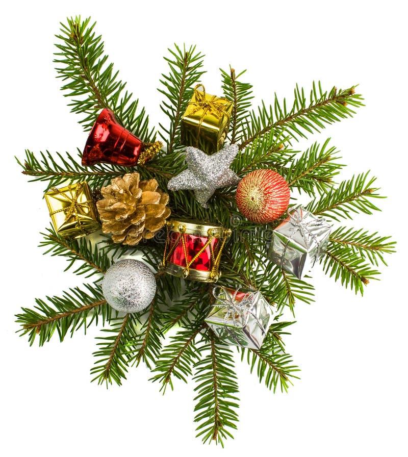 Mooie Kerstmis stelt geïsoleerd op witte achtergrond voor stock fotografie