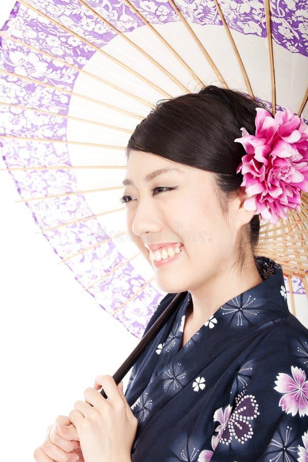 Mooie Kimonovrouw Stock Afbeeldingen