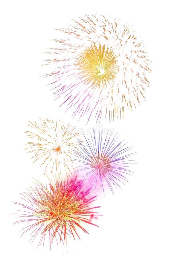 Mooie kleurrijke geïsoleerde vuurwerkvertoning voor viering hap stock afbeelding