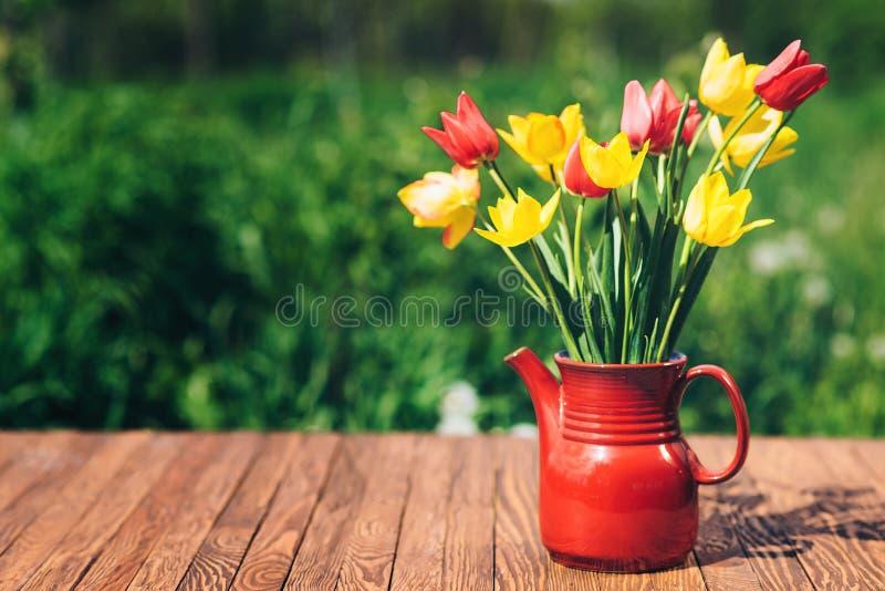 Mooie kleurrijke tulpen in een tuin De dagconcept van de moeder ` s royalty-vrije stock foto