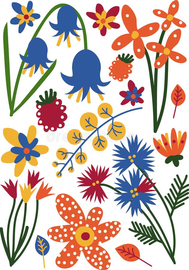 Mooie Kleurrijke Wildernis of Tuin Bloeiende Bloemen, Kruidachtige Bloeiende Installaties, Bloemen Naadloos Patroon, Seizoengebon stock illustratie