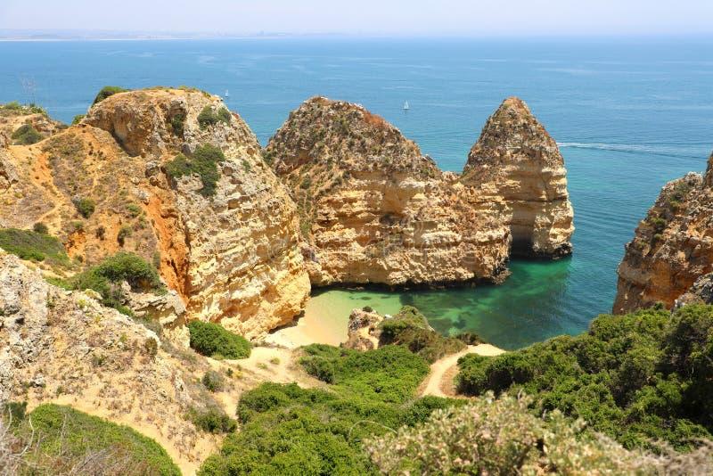 Mooie klippen van Ponta DA Piedade, Lagos, Algarve gebied, Portugal royalty-vrije stock fotografie