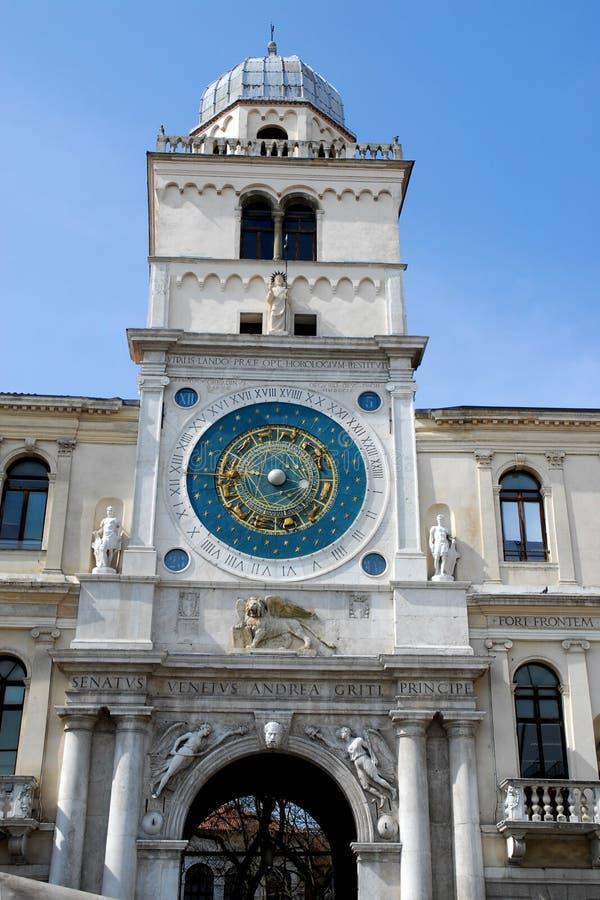 Mooie klokketoren in Padua in Veneto (Italië) stock foto