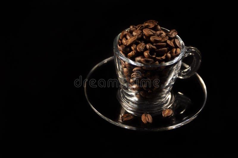 Mooie kop en koffie aromatische korrels van bruin stock foto's
