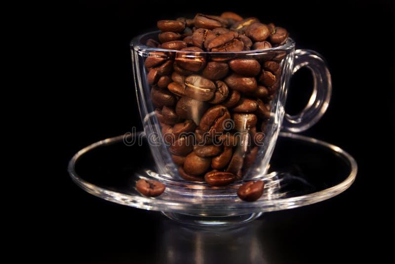 Mooie kop en koffie aromatische korrels van bruin stock afbeelding