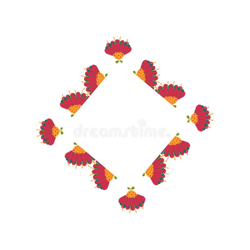 Mooie kroon Elegante bloemen getrokken kaderhand Ontwerp voor uitnodiging, huwelijks of groetkaarten stock afbeelding