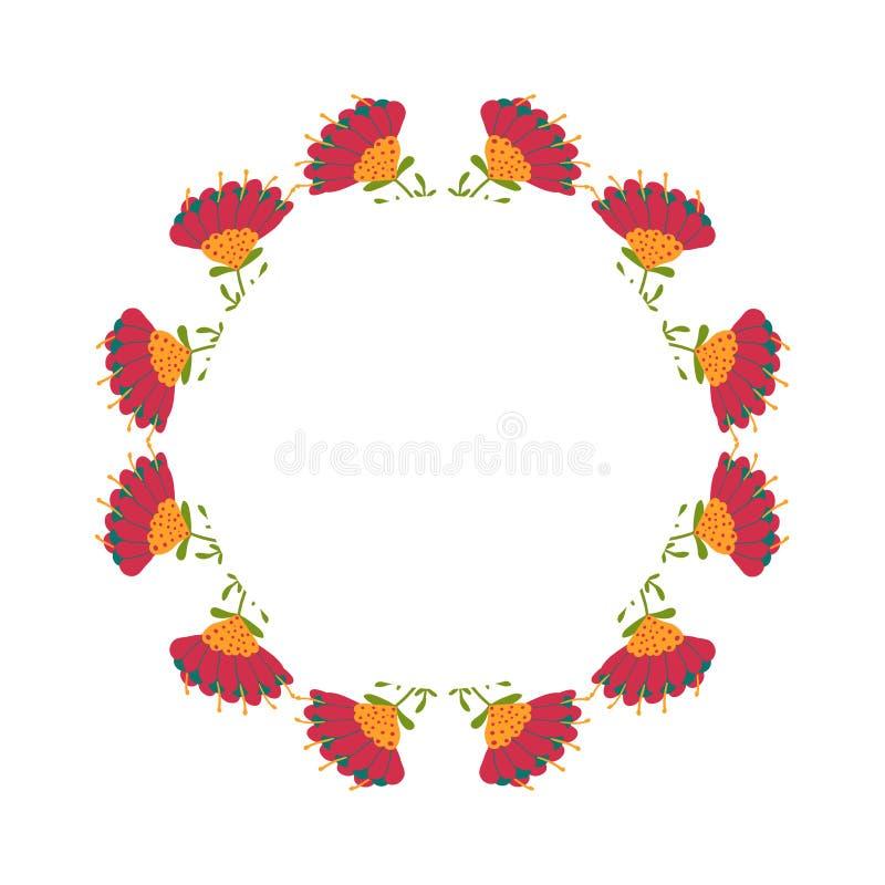 Mooie kroon Elegante bloemen getrokken kaderhand Ontwerp voor uitnodiging, huwelijks of groetkaarten royalty-vrije stock foto's