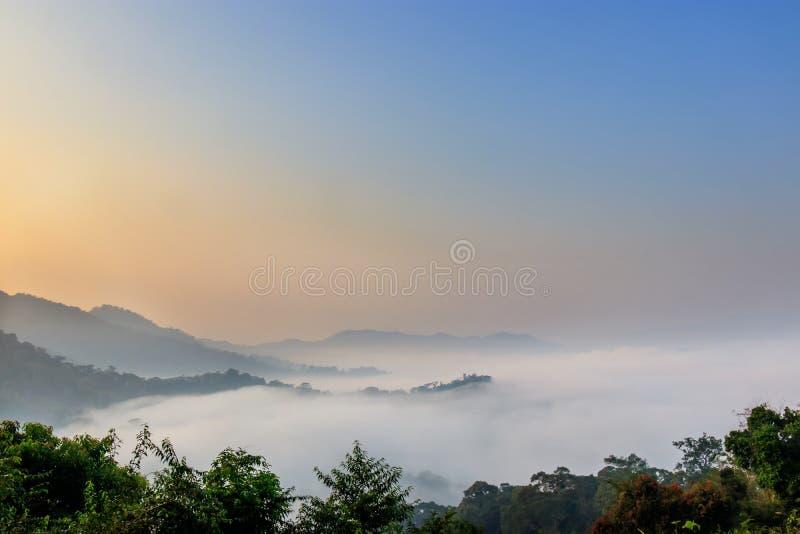 Mooie landschapsmening over de bovenkant van de bergheuvel met mist stock fotografie