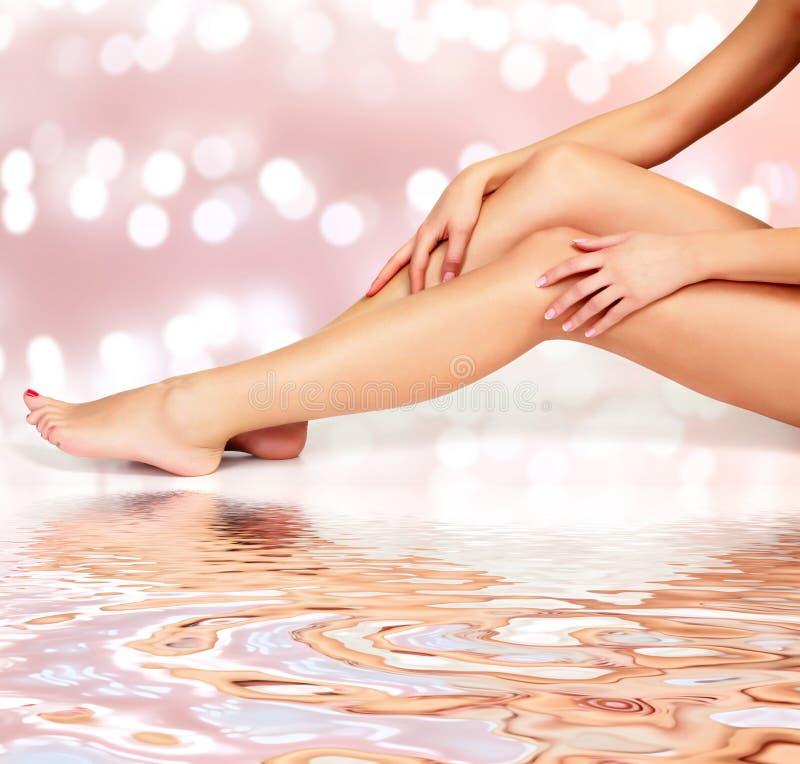 Mooie lange vrouwen` s benen en handen met vlotte en zachte huid stock fotografie
