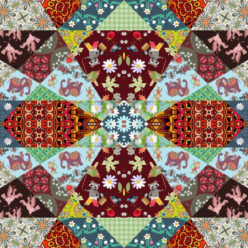 Mooie lapwerkdeken met vrolijke apen, leuke beeldverhaalolifanten, kranen, wasberen en heldere bloemen en geometrische drukken stock illustratie