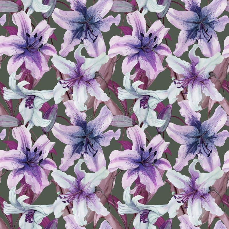 Mooie leliebloemen met bladeren op grijze achtergrond Tinten van purple, blauw, sering Naadloos BloemenPatroon Het Schilderen van stock illustratie