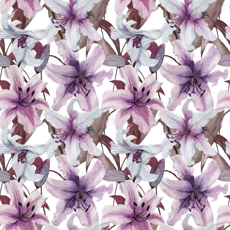 Mooie leliebloemen met bladeren op witte achtergrond Tinten van purple, blauw, sering Naadloos BloemenPatroon Het Schilderen van  vector illustratie
