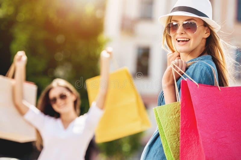 Mooie Leuke Jonge Vrouw met het Winkelen Zakken stock afbeelding