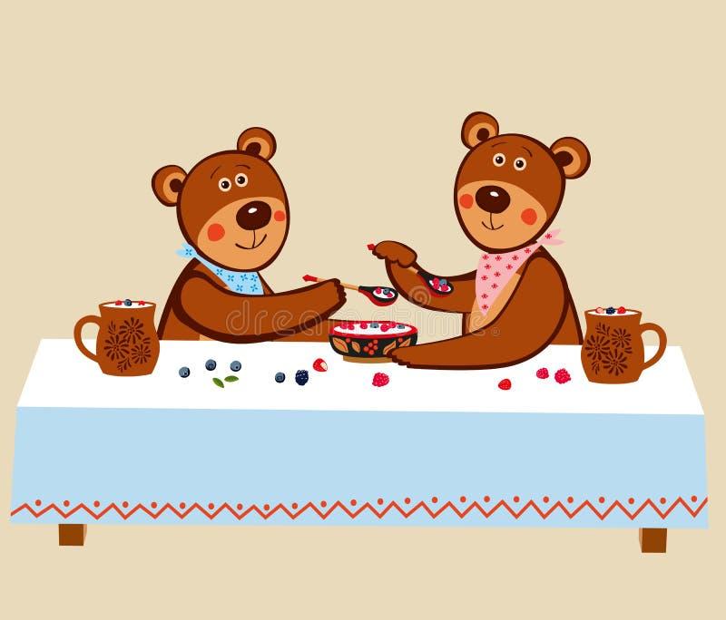 Mooie leuke kleine teddies zitten bij een lange lijst en eten houten bessen met houten lepels met melk vector illustratie