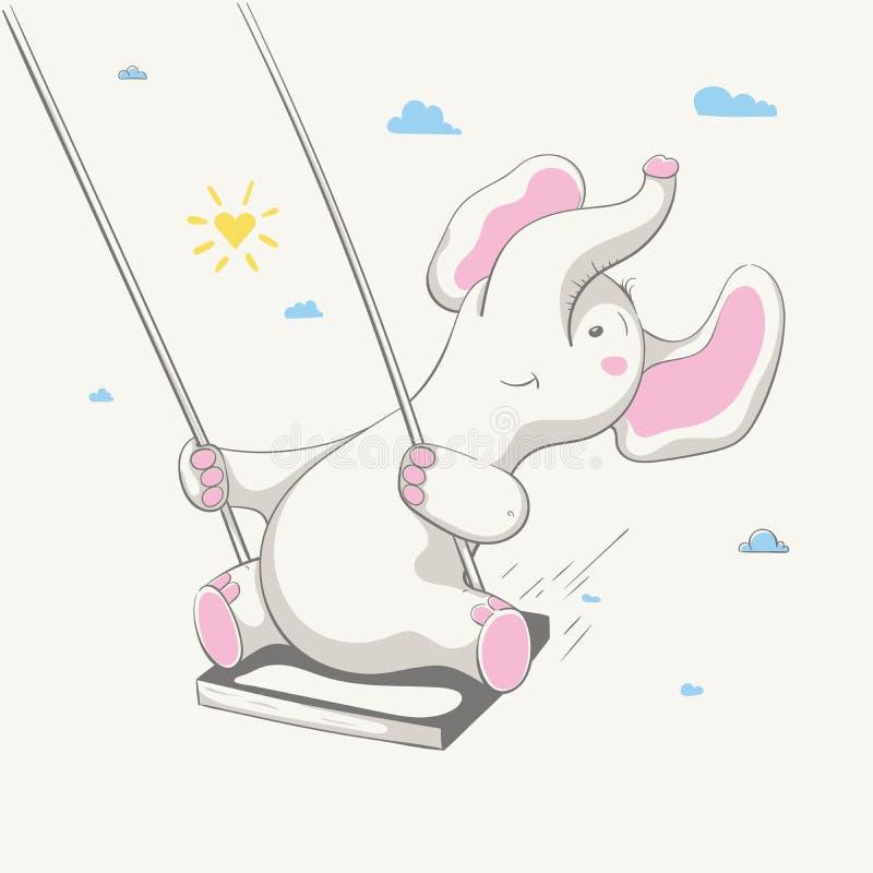 Mooie leuke vrolijke olifantsschommeling op een schommeling Kaart met beeldverhaaldier stock illustratie