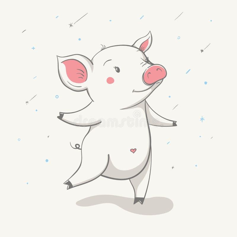 Mooie leuke vrolijke piggy looppas met het kleine hart op de buik Kaart met beeldverhaaldier stock illustratie