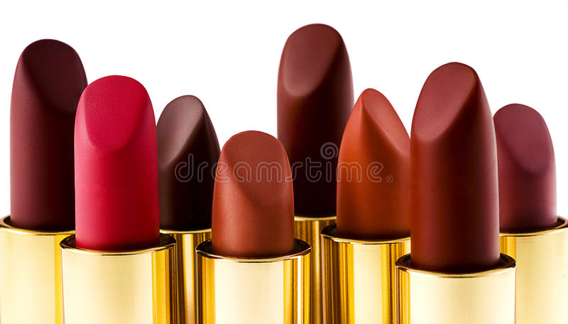 Mooie lippenstiften op wit royalty-vrije stock foto's