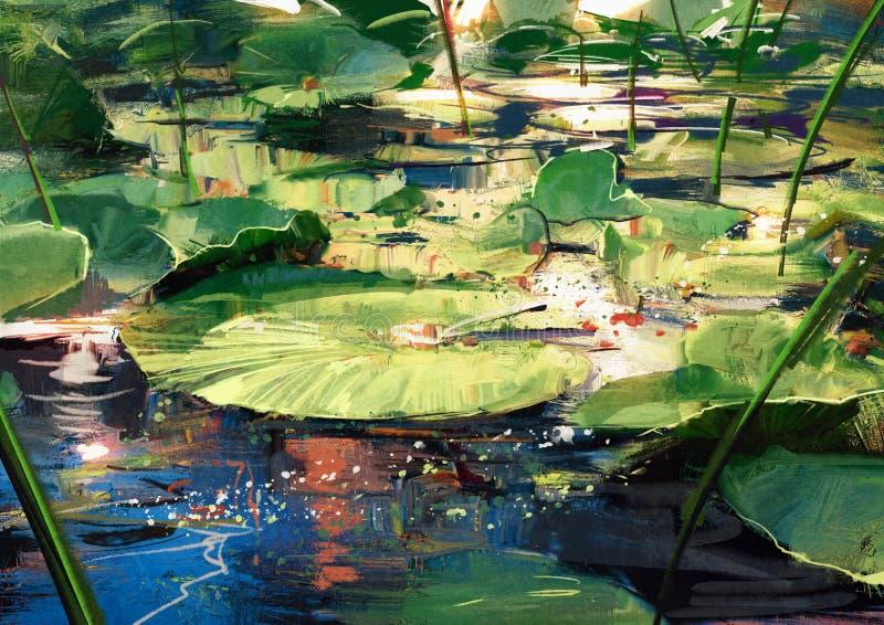 Mooie lotusbloembladeren in vijver stock illustratie