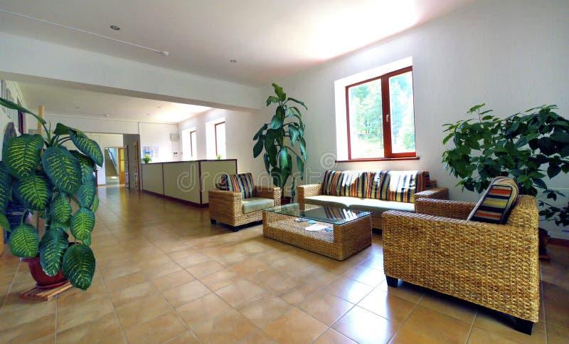 Mooie lounge met groene installaties en zacht rieten meubilair royalty-vrije stock afbeeldingen