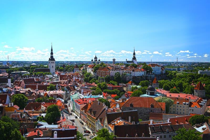 Mooie luchtmening van de oude stad van Tallin in Estland stock fotografie