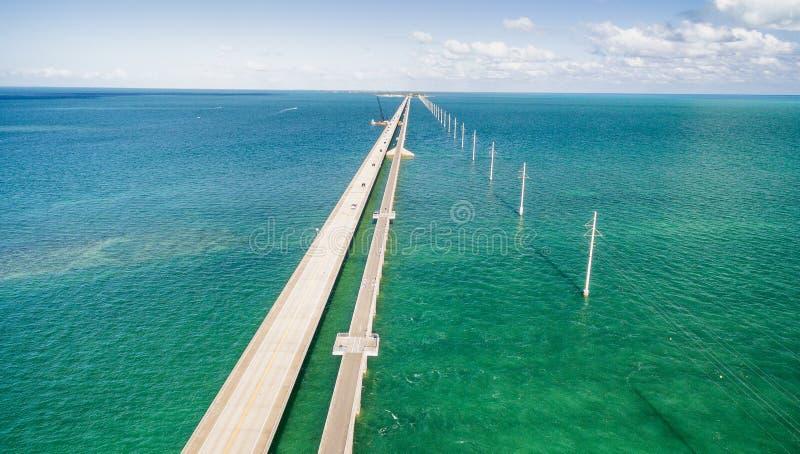 Mooie luchtmening van Wegbrug Overzee, Florida stock foto's